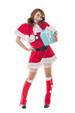 Smile happy Asian Christmas girl hold gift box Royalty Free Stock Photography