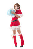 Smile happy Asian Christmas girl hold gift box Stock Images