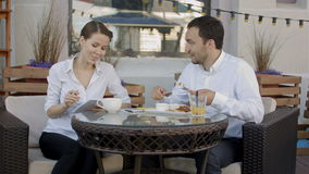 Smile Happy Business Colleagues Eating Together and Discussing of Work stock video footage