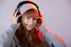 Smile from headphone Royalty Free Stock Images