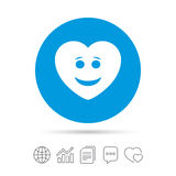 Smile heart face icon. Smiley symbol. Stock Photo