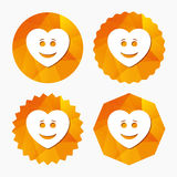 Smile heart face icon. Smiley symbol. Royalty Free Stock Photography