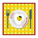Smile icon good morning and fried egg Stock Images