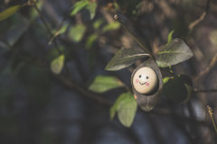 Smile icon miniature on tree. Twig Royalty Free Stock Photography