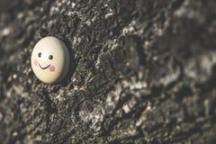 Smile icon miniature on tree. Twig Stock Image