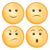 Smile icon set. Set of four smile icon isolated on white: happy,sad,angry,surprise.EPS available Stock Image