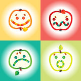 Smile Icon Set. With Stylized Worms and Apples Royalty Free Stock Photo