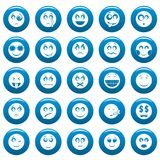 Smile vector icon set blue, simple style. Smile icon set blue. Simple illustration of 50 smile vector icons for web vector illustration