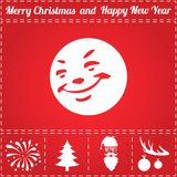 Smile Icon Vector. And bonus symbol for New Year - Santa Claus, Christmas Tree, Firework, Balls on deer antlers Royalty Free Stock Photos