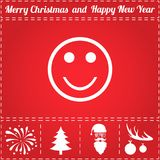 Smile Icon Vector. And bonus symbol for New Year - Santa Claus, Christmas Tree, Firework, Balls on deer antlers Royalty Free Stock Photography