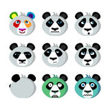 Smile icons emoticons humor panda. Funny humorous emoticons of emotional panda; Panda with a rainbow mood; Angry, arrogant; Panda zombies and Winter here Royalty Free Stock Photography