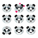 Smile icons emoticons panda. Panda emotional, funny emoticons icons; Happy panda, in love, sad, worried; Panda flirts, shocked and killed; Prankster, surprised Stock Photo