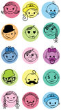 Smile icons. Face teens icons. Vector illustration Stock Image