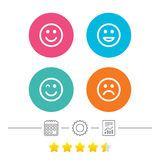 Smile icons. Happy, sad and wink faces. Stock Photography