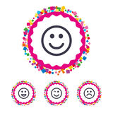 Smile icons. Happy, sad and wink faces. Stock Image