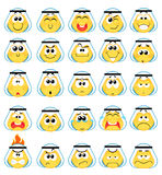 Smile icons. Set of Arabic khaliji  Emoticons emoji Smile icons , Isolated vector illustration Stock Photography