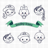 Smile icons. Smile shildren icons. Vector illustration Royalty Free Stock Photography