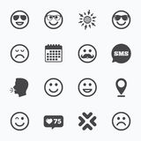 Smile icons. Sunglasses, mustache and laughing. Royalty Free Stock Photography