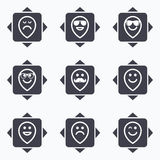 Smile icons. Sunglasses, mustache and laughing. Icons with direction arrows. Smile pointers icons. Happy, sad and wink faces signs. Sunglasses, mustache and Stock Photo