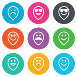 Smile icons. Sunglasses, mustache and laughing Royalty Free Stock Photo