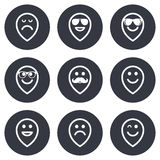 Smile icons. Sunglasses, mustache and laughing Stock Image