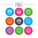 Smile icons. Sunglasses, mustache and laughing. Stock Photo