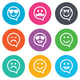 Smile icons. Sunglasses, mustache and laughing Stock Photos