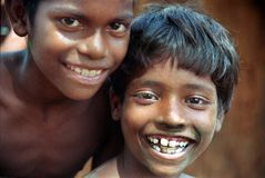 Smile of innocence. Two village boys smiling at play time in rural India Royalty Free Stock Photos