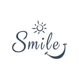 Smile. Inspirational quote about happy. Modern calligraphy phrase with hand drawn smile and sun. Lettering in boho style for print and poster. Typography Stock Photo
