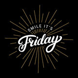 Smile its friday hand written lettering. Stock Image