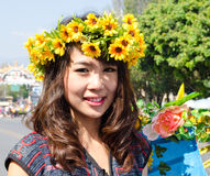Smile of Lady in Chiangmai Flower Festival 36th. Stock Photo