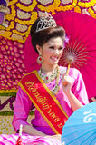 Smile of Lady in Chiangmai Flower Festival 36th. Royalty Free Stock Images