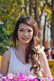Smile of Lady in Chiangmai Flower Festival 36th. Royalty Free Stock Image