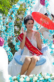 Smile of Lady in Chiangmai Flower Festival 36th. Royalty Free Stock Photo