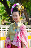 Smile of Lady in Chiangmai Flower Festival 36th. Stock Images