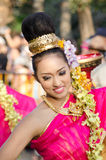 Smile of Lady in Chiangmai Flower Festival 36th. Stock Photos