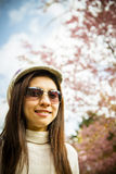 Smile lady with Pink cherry flower tree. 1 Royalty Free Stock Images
