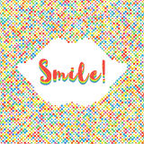 Smile lettering colorful banner Dot background silhouette of lips Stock Photo