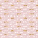 Smile lettering seamless pattern. Hand drawn sketched calligraphic signs, grunge textured retro badge, Vintage typography design p Royalty Free Stock Photos