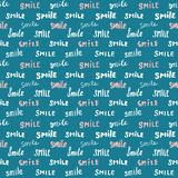 Smile lettering seamless pattern. Hand drawn sketched calligraphic signs, grunge textured retro badge, Vintage typography design p Royalty Free Stock Images