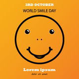 Smile and lettering World Smile Day on yellow background. Smile lettering World Smile Day on yellow background. World Smile Day banner Royalty Free Stock Image