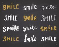 Smile letterings handwritten signs set, Hand drawn grunge calligraphic text. Vector illustration on chalkboard background Royalty Free Stock Images
