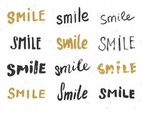 Smile letterings handwritten signs set, Hand drawn grunge calligraphic text. Vector illustration Stock Photos