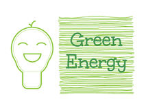Smile light bulb icon with green energy word. Vector illustration Stock Photos
