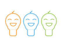 Smile light bulb icon. Vector illustration Royalty Free Stock Photo
