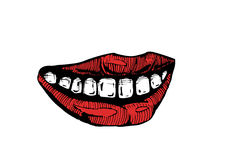 Smile lips isolated on white background Stock Images