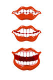Smile lips set. Content mouth collection.  Royalty Free Stock Image
