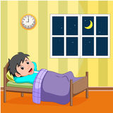 Smile little boy sleeping in the bed. Illustration of smile little boy sleeping in the bed Stock Photography