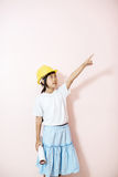 Smile little girl as architect engineer dream to future hand poi Royalty Free Stock Photography