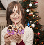 Smile of little girl - christmas Royalty Free Stock Images